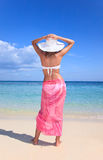 Woman holds her hat down standing on beach Stock Photography