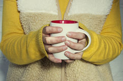 A woman holds a hot cup of tea and warms his hands. Royalty Free Stock Photo