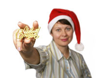The woman holds an inscription. Happy New Year (in Russian) on white background Stock Photo