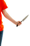 The woman holds a knife in his hand Royalty Free Stock Photos