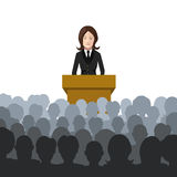 Woman holds a lecture to an audience flat illustration Stock Photo