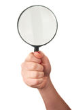 Woman holds magnifying glass Royalty Free Stock Photo