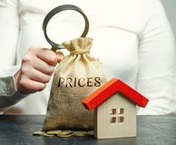 A woman holds a magnifying glass over a money bag with the word Prices and a wooden house. The concept of price analysis for real. Estate. Assessment the cost royalty free stock photos