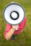 Woman Holds Megaphone Stock Photography