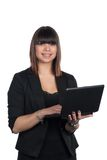 Woman holds a netbook Stock Photography