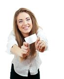 Woman holds out a business card Stock Images