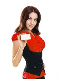 Woman holds out a business or credit card Stock Photos
