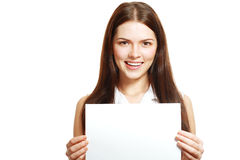 Woman holds out a card stock image