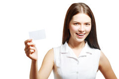 Woman holds out a card stock photo
