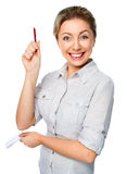 Woman holds pen and notebook Stock Images