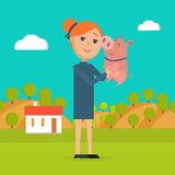 Woman Holds Pig in Hand Country Farm on Background Royalty Free Stock Photography