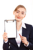 Business woman shows on your ad stock image