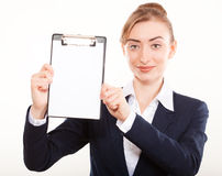 Business woman shows on your ad royalty free stock photo