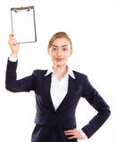 Business woman shows on your ad Stock Photography