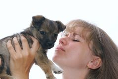 The woman holds a puppy Royalty Free Stock Photography