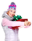 Woman holds the red  christmas box gift Stock Image