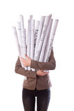 Woman holds a rolled-up drawings Royalty Free Stock Images