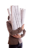 Woman holds a rolled-up drawings Stock Image
