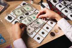 Woman holds a set of dollars in the pockets Royalty Free Stock Image