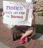 Woman Holds Sign About Bigotry at Moral Monday Rally in Ashevill Stock Photos