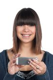 Woman holds a smartphone Stock Photos