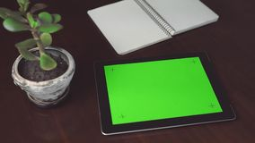 Woman holds tablet pc with green screen stock footage