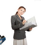 Woman holds thick folder isolate Royalty Free Stock Photo