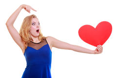 Woman holds Valentine day symbol love heart Royalty Free Stock Image