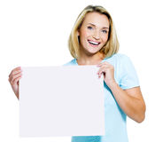 Woman holds the white  blank card Royalty Free Stock Photography