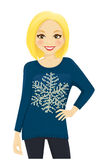 Woman in holiday sweater Stock Image