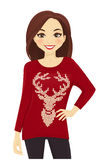 Woman in holiday sweater Stock Photography