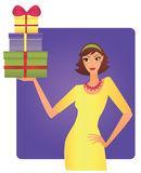Woman holidng a load of gifts Royalty Free Stock Photo