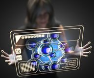 Woman and hologram with atom model. 3D rendered Stock Photos