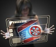 Woman and hologram with clapboard Royalty Free Stock Images