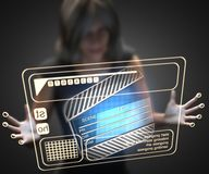 Woman and hologram with clapboard Royalty Free Stock Photography