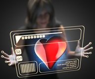Woman and hologram with heart Royalty Free Stock Photos