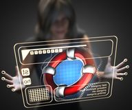 Woman and hologram with lifebuoy Royalty Free Stock Photo