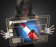 Woman and hologram with lipstick Royalty Free Stock Photo