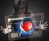 Woman and hologram with lollipop Royalty Free Stock Photos