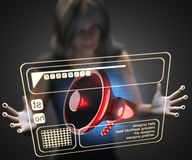 Woman and hologram with megaphone Royalty Free Stock Photography