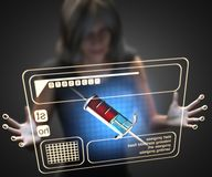 Woman and hologram with syringe Royalty Free Stock Photos