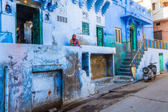 Woman at home in the Blue City Stock Photos