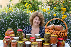 Woman with home canning Stock Photo