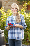 Woman with home-grown fruit Stock Photo