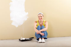 Woman home improvement Royalty Free Stock Photo