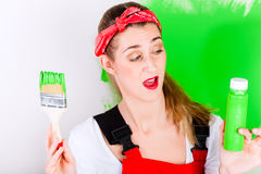 Woman at home improvement and painting Royalty Free Stock Photography