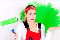 Woman at home improvement and painting Stock Photo