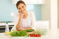 Woman in home kitchen Royalty Free Stock Photography
