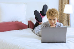 Woman at Home with Laptop Stock Photo