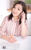 Woman at home looking for a job Royalty Free Stock Image